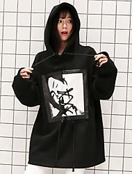 女性用 日常 パーカー ソリッド フード付き マイクロエラスティック コットン 半袖 冬