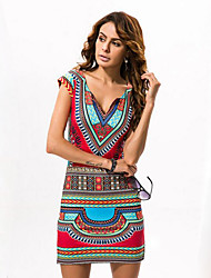 cheap -Women's Holiday Street chic Bodycon Dress - Tribal Print Mini V Neck / Slim