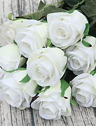 abordables -1 Une succursale Polyester Roses Fleur de Table Fleurs artificielles