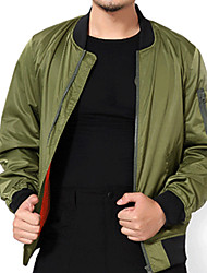 cheap -Men's Sports Casual/Daily Simple Winter Fall Jacket,Solid Round Neck Long Sleeve Long Cotton Acrylic Oversized