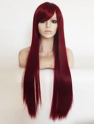 preiswerte -Synthetische Haare Perücken Kinky Glatt Natürlicher Haaransatz Mit Pony Kappenlos Party-Perücke Natürliche Perücke Lang Rosa Blond Rot