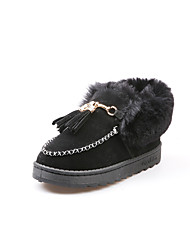 cheap -Women's Shoes PU Winter Comfort Loafers & Slip-Ons Round Toe for Casual Black Gray