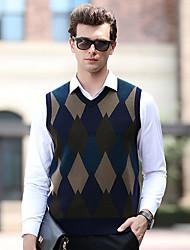 economico -Per uomo Da tutti i giorni Monocolore Pullover, A V Senza maniche Autunno Lana