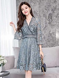 cheap -Women's A Line / Lace Dress - Solid Colored V Neck / Spring / Fall