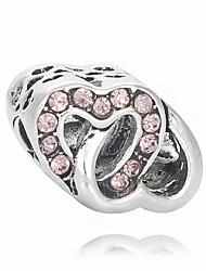 baratos -Jóias DIY 1 pçs Contas Imitações de Diamante Liga Branco Rosa Claro Coração Bead 0.2 cm faça você mesmo Colar Pulseiras