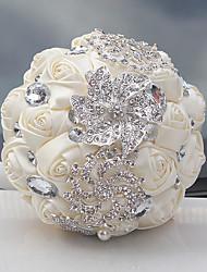 """cheap -Wedding Flowers Bouquets Wedding Crystal/ Rhinestone Satin 9.06""""(Approx.23cm)"""