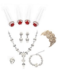 cheap -Women's Jewelry Set - Imitation Pearl, Imitation Diamond Flower European, Fashion Include Chain Bracelet / Bridal Jewelry Sets White For Wedding / Party