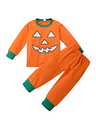 cheap -Unisex Holiday Solid Print Clothing Set, Cotton Winter All Seasons Long Sleeves Casual Active Orange