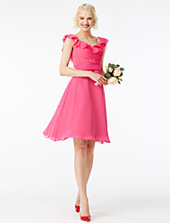 cheap -A-Line Square Neck Short / Mini Chiffon Bridesmaid Dress with Sash / Ribbon Ruffles Pleats by LAN TING BRIDE®