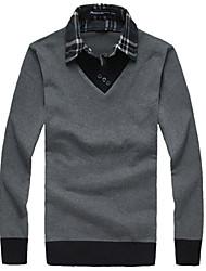 Недорогие -Муж. Офис Polo, Рубашечный воротник Контрастных цветов Хлопок