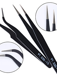 cheap -2pcs Black Straight  Curved Nail Art False Fake Eye Lashes Eyelash Extension Tweezers Nippers Pointed Clip Nail Art Tool