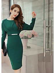 cheap -Women's Party Sexy Bodycon Dress,Solid Round Neck Knee-length Long Sleeve Wool Winter Mid Rise Inelastic Thick