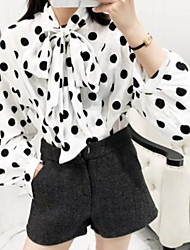 cheap -Women's Daily Simple Spring Summer Blouse,Polka Dot Round Neck Long Sleeve Cotton Polyester