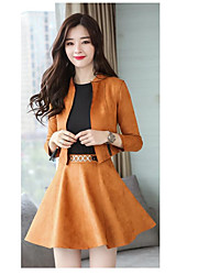 cheap -Women's Daily Going out Casual Active Winter Blazer Skirt Suits,Solid Color Round Neck Long Sleeve Cotton Micro-elastic