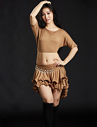 baratos -Dança do Ventre Roupa Mulheres Treino Espetáculo Modal Babados em Cascata Meia Manga Caído Saias Blusa