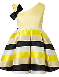 baratos -Menina de Vestido Diário Listrado Estampa Colorida Primavera Verão Algodão Raiom Sem Manga Vintage Fofo Casual Verde Rosa Amarelo