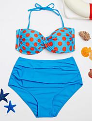 cheap -Women's Halter Bikini - Polka Dot Spots & Checks Briefs