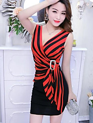 cheap -Women's Bodycon Dress - Striped High Waist Mini V Neck