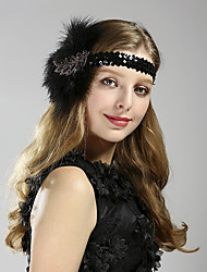 economico -Il grande Gatsby Stile anni '20 Costume Per uomo Per donna Accessori per capelli Fascia per capelli da ballerina charleston Nero Vintage