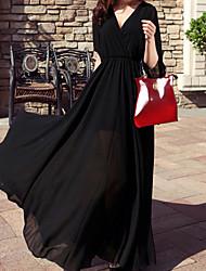 Недорогие -Повседневные На каждый день Шифон Платье Однотонный,V-образный вырез Макси Половина рукава Акрил Лето Нормальная Слабоэластичная Плотная