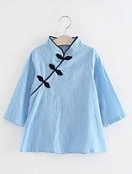 cheap -Girl's Party Daily Going out Holiday School Solid Print Dress, Cotton All Seasons Long Sleeves Simple Vintage Cute Red Light Blue