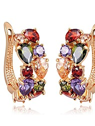 cheap -Women's Stud Earrings Synthetic Ruby Classic Colorful Ethnic Zircon Copper Irregular Jewelry Daily Street Costume Jewelry