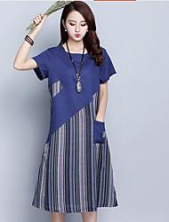baratos -Mulheres Diário Casual Solto Médio Vestido Listrado Estampa Colorida Decote Redondo Manga Curta Outono