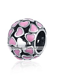 cheap -DIY Jewelry 1 pcs Beads Silver Rose Pink Ball Heart Bead 0.9 cm DIY Necklace Bracelet