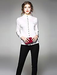 economico -Camicia Da donna Ufficio sofisticato Primavera Autunno,Tinta unita Rotonda Elastene Altro Maniche lunghe Medio spessore
