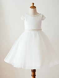 cheap -Ball Gown Knee Length Flower Girl Dress - Satin Tulle Short Sleeves Scoop Neck with Beading Bow(s) by LAN TING Express