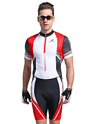 cheap -Nuckily Men's Short Sleeves Tri Suit - Red Geometic Bike Anatomic Design, Ultraviolet Resistant, Breathable, Spring Summer, Polyester
