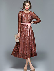Недорогие -Жен. На выход / Офис Уличный стиль А-силуэт Платье - Однотонный / Контрастных цветов Макси