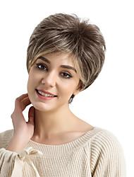 Недорогие -Парики из искусственных волос Прямой Стрижка под мальчика С чёлкой плотность Без шапочки-основы Жен. Коричневый Парик из натуральных волос