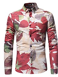 cheap -Men's Daily Going out Casual Boho Street chic Winter All Seasons Shirt,Print Color Block Classic Collar Long Sleeve Cotton Linen Medium