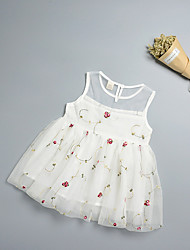 cheap -Baby Girl's Birthday Holiday Floral Dress,Polyester Simple Sleeveless Blushing Pink White