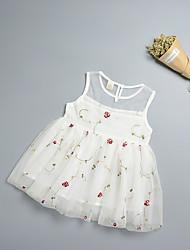 abordables -bébé Robe Fille de Anniversaire Vacances Fleur Polyester Sans Manches simple Blanc Rose Claire