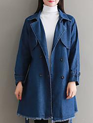 baratos -Mulheres Jaqueta jeans Sólido, Algodão Decote V Oversized