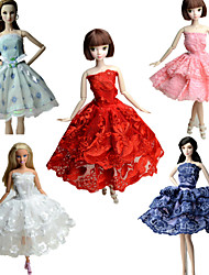 cheap -Party/Evening Dresses For Barbie Doll Lace Satin Dress For Girl's Doll Toy