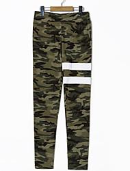 baratos -Mulheres Esporte & lazer Cintura Média Com Stretch Justas/Skinny Calças, POLY Elastano Primavera/Outono camuflagem
