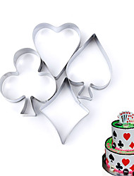cheap -4 pcs Set Poker Cookie Mold Stainless Steel Playing Cards Cake Fondant Mold Biscuit Cutter
