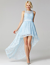 cheap -A-Line Jewel Neck Asymmetrical Lace Bridesmaid Dress with Sash / Ribbon by LAN TING BRIDE®
