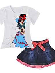 cheap -Girls' Daily Clothing Set, Cotton Spring Summer Short Sleeves Casual Active White