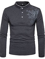 cheap -Men's Daily Going out Casual Chinoiserie Spring Fall T-shirt,Print Stand Long Sleeve Cotton Opaque