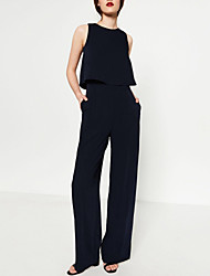 cheap -Women's Party Going out Sexy Sophisticated Solid Round Neck Jumpsuits,Wide Leg Overalls Sleeveless Spring Fall Polyester