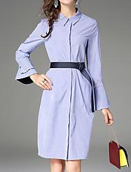economico -Camicia Vestito Da donna-Per uscire Semplice Monocolore Colletto Medio Maniche lunghe Cotone Primavera Autunno A vita medio-alta