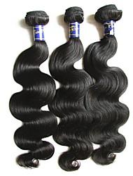 Недорогие -перуанская девственная волна волос тела 3bundles 300g серия 10a качество remy человеческие волосы переплетения пучки естественный черный