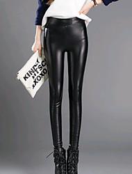 Žene Crn Pamuk Srednje Sa stilom Jedna boja Legging