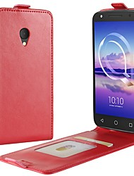 cheap -Case For Alcatel alcatel U5 4G alcatel A7 Card Holder Flip Full Body Cases Solid Color Hard PU Leather for Alcatel U5 HD Alcatel U5 4G