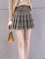 cheap -Women's Casual/Daily Above Knee Skirts,Simple A Line Cotton Color Block Winter Spring/Fall