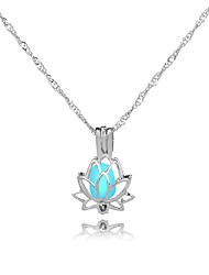 cheap -Women's All Lotus Shape Illuminated Gift Pendant Necklace , Luminous Stone Alloy Pendant Necklace Gift Date Costume Jewelry